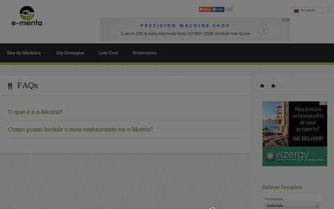 Screenshot of FAQ Page e-menta.pt - Restaurantes na Madeira | FAQs - Restaurantes na Madeira - captured Sept. 30, 2014