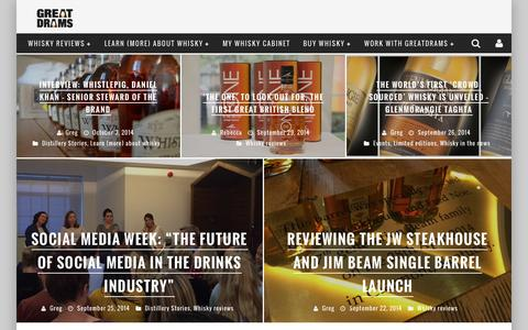 Screenshot of Home Page greatdrams.com - GreatDrams - whisky reviews, interviews and inspiration - captured Oct. 3, 2014
