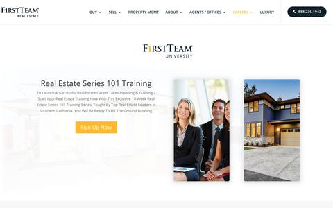 Screenshot of Signup Page firstteam.com - Real Estate Series 101 Training First Team University - captured Oct. 3, 2018