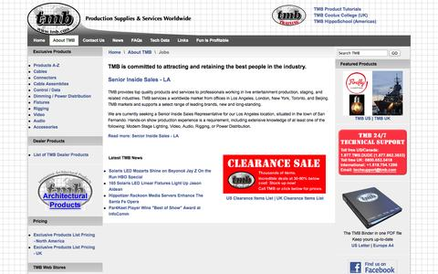 Screenshot of Jobs Page tmb.com - Jobs - TMB Production Supplies & Services Worldwide - captured Oct. 9, 2014