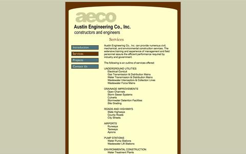 Screenshot of Services Page aecoi.net - Services : Austin Engineering Co., Inc. : Austin, Texas - captured Oct. 4, 2014