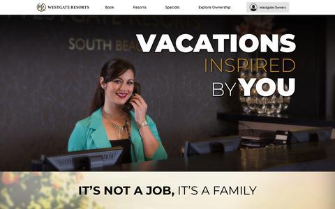 Screenshot of Jobs Page westgateresorts.com - Careers & Job Opportunities | Westgate Resorts - captured April 22, 2018