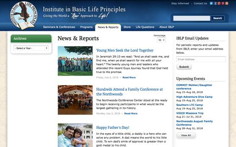 Screenshot of Press Page iblp.org - News & Reports | Institute in Basic Life Principles - captured July 18, 2018