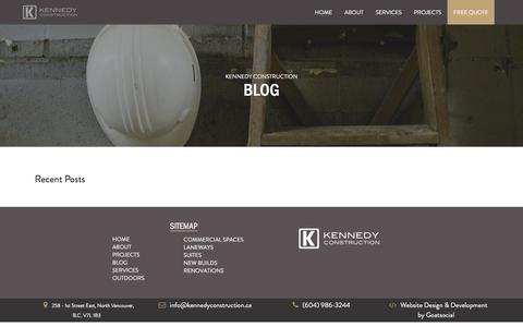 Screenshot of Blog kennedyconstruction.ca - Blog   Kennedy Construction - captured Jan. 9, 2016