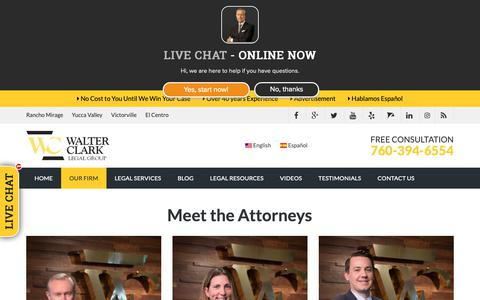 Screenshot of Team Page walterclark.com - Personal Injury Legal Team | Accident Lawyer Palm Springs | Walter Clark Legal Group - captured Nov. 15, 2018