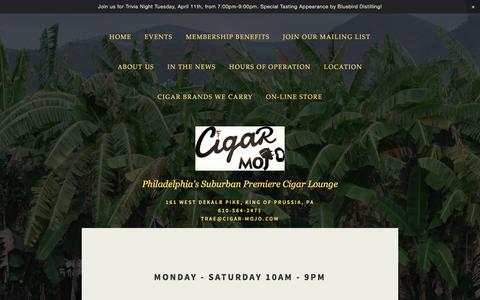 Screenshot of Hours Page cigar-mojo.com - Hours of Operation — Cigar Mojo - captured May 17, 2017