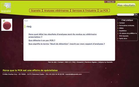 Screenshot of FAQ Page scanelis.com - FAQ - Scanelis - Laboratoire d'analyses vétérinaires - captured Sept. 30, 2014