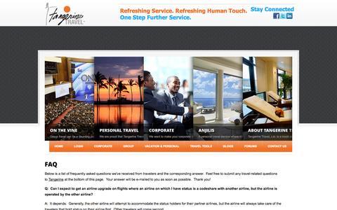 Screenshot of FAQ Page tangerinetravel.com - FAQ | Tangerine Travel - captured Oct. 9, 2014