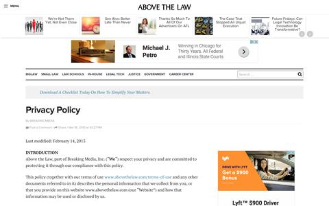 Screenshot of Privacy Page abovethelaw.com - Privacy Policy | Above the Law - captured Sept. 27, 2017