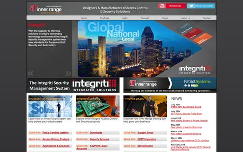 Screenshot of Home Page innerrange.com - Inner Range Pty Ltd | Home - captured Sept. 30, 2014
