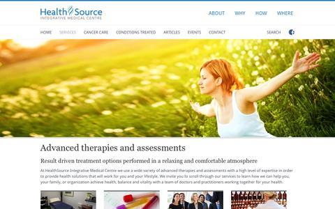 Screenshot of Services Page healthsourceimc.com - Services - HealthSource Integrative Medical Centre - captured Jan. 27, 2016