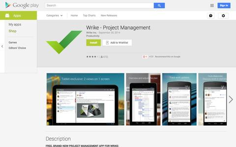 Screenshot of Android App Page google.com - Wrike - Project Management - Android Apps on Google Play - captured Oct. 28, 2014