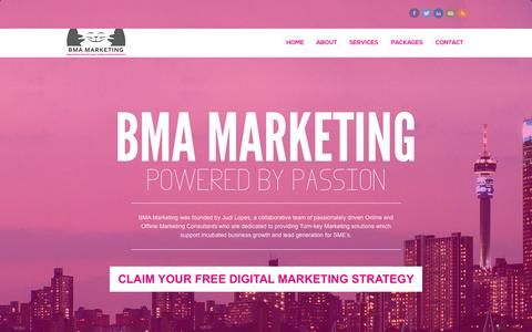 Screenshot of Home Page bmamarketing.co.za - BMA Marketing - Powered by passionBMA Marketing | Powered by passion - captured Sept. 10, 2015