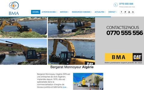 Screenshot of Home Page bm-a.com - BMA - Bergerat Monnoyeur Algérie - vente engin CATERPILLAR et SEM - captured Sept. 22, 2018