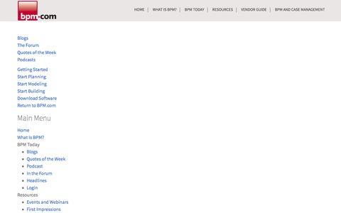 Screenshot of Site Map Page bpm.com - Business Process Management, Inc. - Site Map - captured Nov. 4, 2014