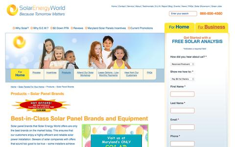 Screenshot of Products Page solarenergyworld.com - Best-In-Class Solar Panel Brands | Solar Energy World of Maryland - captured Nov. 5, 2017