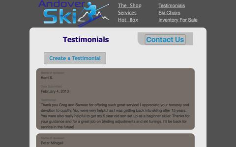 Screenshot of Testimonials Page andoverski.com - Testimonials - Andover Ski - captured Dec. 25, 2015