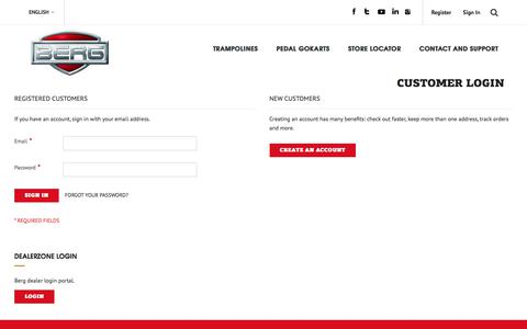 Screenshot of Login Page bergtoys.com - Customer Login - captured July 31, 2018