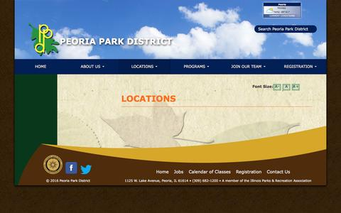 Screenshot of Locations Page peoriaparks.org - Locations - Peoria Park District - captured Nov. 1, 2016