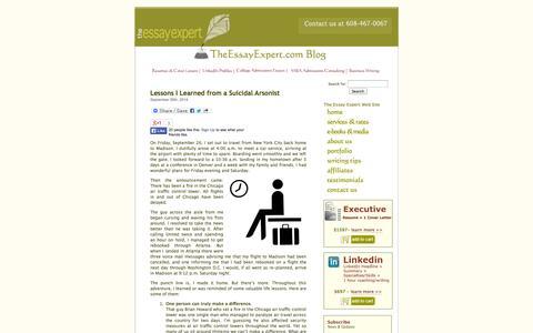 Screenshot of Blog theessayexpert.com - The Essay Expert Blog - captured Oct. 10, 2014