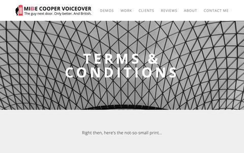 Screenshot of Terms Page mikecoopervoiceover.com - Terms & Conditions — Mike Cooper - British Voice Over Artist - captured Oct. 18, 2018