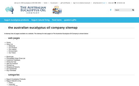 Screenshot of Site Map Page australianeucalyptusoil.com.au - Sitemap - captured Nov. 30, 2016