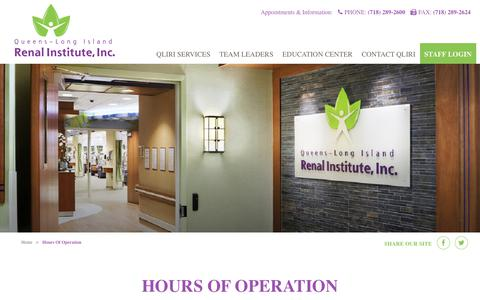 Screenshot of Hours Page qliri.org - Hours Of Operation - Queens-Long Island Renal Institute, Inc. - captured Feb. 18, 2018