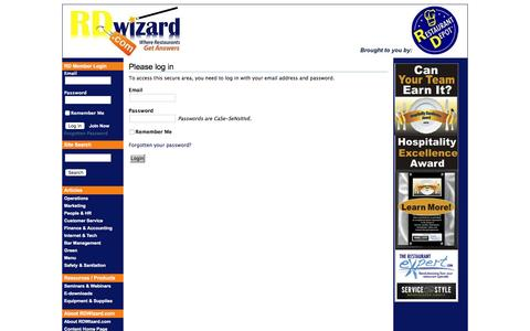 Screenshot of Login Page rdwizard.com - RDWizard.com - brought to you by Restaurant Depot - captured March 23, 2016