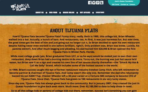 Screenshot of About Page tijuanaflats.com - About Tijuana Flats | Tijuana Flats - captured Sept. 22, 2014