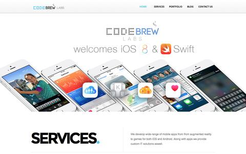Screenshot of Home Page Blog Contact Page code-brew.com - Mobile App Development company | App Developers Hire – Code Brew Labs - captured Oct. 3, 2014