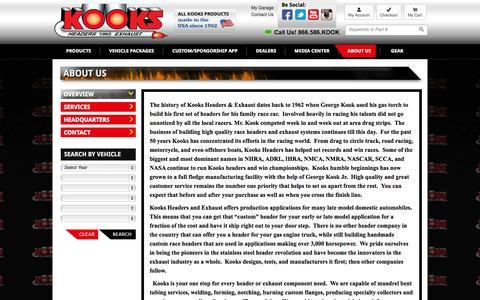 Screenshot of About Page kooksheaders.com - About Us, Kooks History   Kooks Headers and Exhaust - captured Sept. 22, 2014