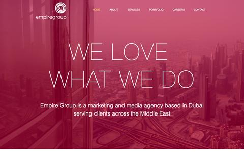 Screenshot of Home Page empiregroup.ae - Empire Group | Marketing and Media Agency | Dubai - captured Oct. 6, 2014