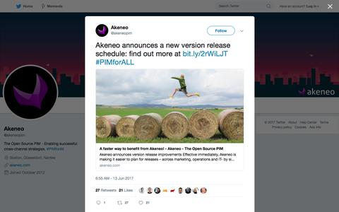"Akeneo on Twitter: ""Akeneo announces a new version release schedule: find out more at https://t.co/z3zW4D58UO #PIMforALL"""