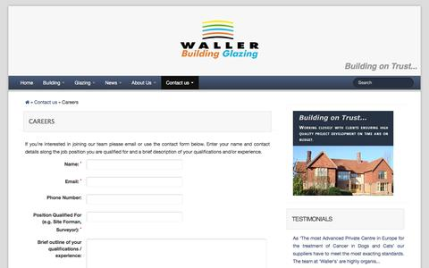 Screenshot of Jobs Page wallerservices.com - Careers at Waller Associates Ltd - captured Feb. 13, 2016