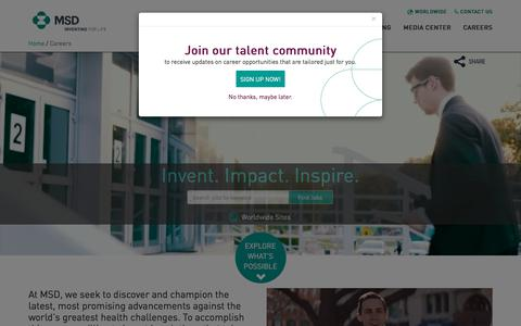 Screenshot of Jobs Page msd.com - MSD | Careers - captured May 23, 2018