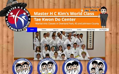 Screenshot of Home Page overlandparktkd.com - Martial Arts in Overland Park, KS | Master H C Kim - captured Oct. 1, 2014