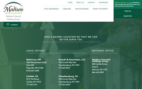 Screenshot of About Page Contact Page Services Page Locations Page madisonsettlements.com - Madison Financial Holdings Group - Madison Settlement Services - captured Oct. 2, 2018