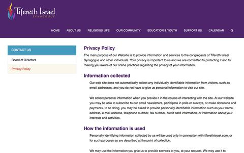 Screenshot of Privacy Page tiferethisrael.com - Privacy Policy - captured Dec. 19, 2016