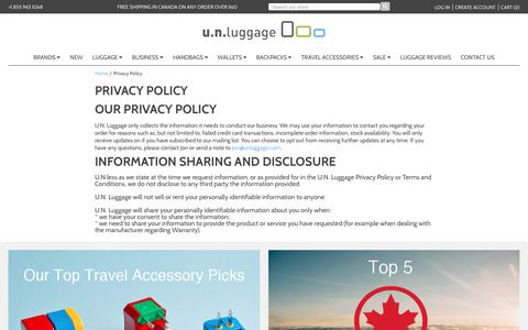 Screenshot of Privacy Page unluggage.com - Privacy Policy – U.N. Luggage Canada - captured July 19, 2016