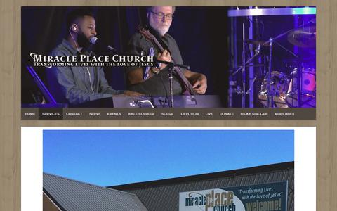 Screenshot of Services Page miracleplacechurch.org - Services – Miracle Place  Church - captured Sept. 20, 2018