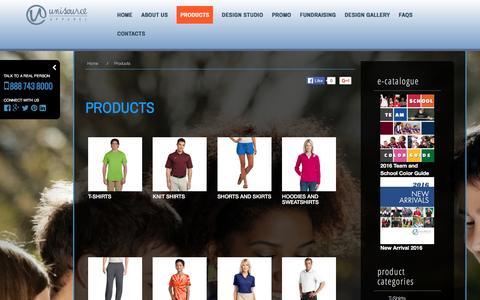 Screenshot of Products Page unisourceapparel.com - Screenprint, T-Shirt, Knit, Sweatshirts, Hoodies, Shorts & Skirts  Unisource Apparel - captured Jan. 10, 2016