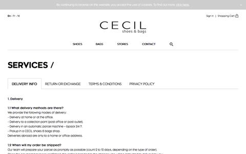 Screenshot of Privacy Page Services Page Terms Page cecil.be - Cecil Services EN - captured Oct. 4, 2016