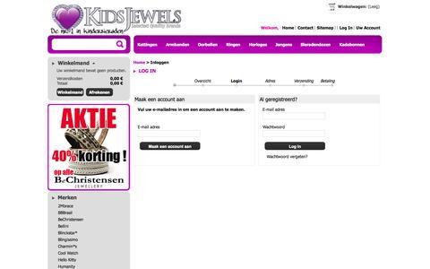 Screenshot of Login Page kinder-sieraden.nl - KidsJewels kindersieraden - captured Oct. 6, 2014