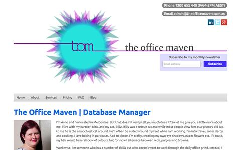 Screenshot of About Page theofficemaven.com.au - The Office Maven - captured Oct. 9, 2014