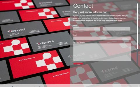 Screenshot of Contact Page impartial.com - contact   impartial - captured Sept. 30, 2014