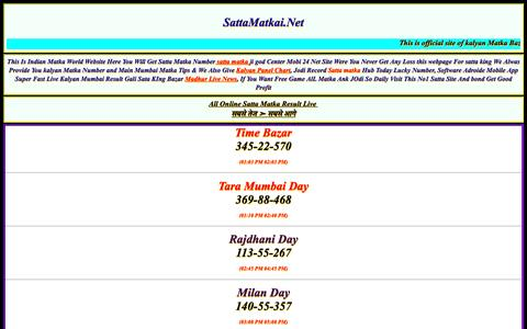 Screenshot of Home Page sattamatkai.net - SATTA MATKA | MATKA RESULTS | FIX MATKA NUMBER | KALYAN MATKA TIPS - captured Sept. 20, 2016