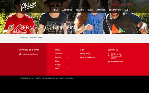 Screenshot of Terms Page philcos.com - Terms & Conditions - Philcos - captured Nov. 1, 2014