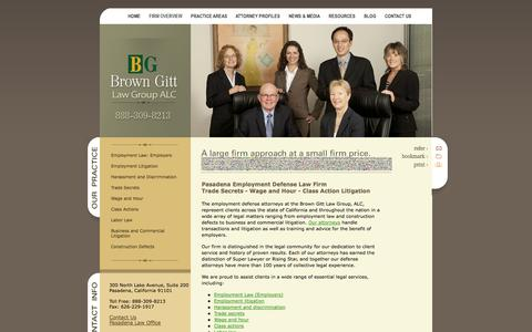 Screenshot of Home Page browngitt.com - Pasadena Employment Defense Law Firm | Wage and Hour Dispute Attorneys | Trade Secrets Lawyers Los Angeles CA - captured Oct. 5, 2014