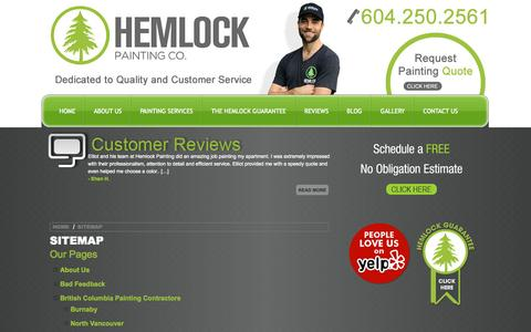Screenshot of Site Map Page hemlockpainting.com - Sitemap - House Painters - Painting Company Vancouver | Hemlock Painting Co. - captured Sept. 30, 2014