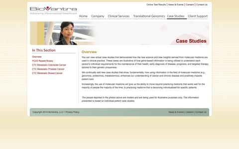 Screenshot of Case Studies Page biovantra.com - Case Studies - BioVantra, LLC - Phone: 866-627-8221 | Headquartered in Ocala, Florida, BioVantra, LLC is a fully licensed laboratory certified by the Clinical Laboratory Improvement Amendment (CLIA) - captured Sept. 30, 2014